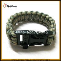 Free shipping Lifesaving parachute rope Camping parachute Cord Bracelets Whistle Buckle Survival Bracelet Single color