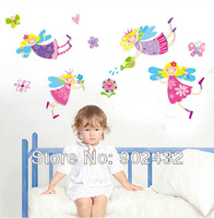 2013 New arrive vinyl wall stickers Cartoon Flower Fairy home decor wall decals for kids rooms JM8300