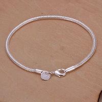 H187 Free Shipping Wholesale 925 silver bracelet, 925 silver fashion jewelry 3mm Snake Bone Bracelet