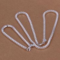 S026 Wholesale, free shipping 925 silver jewelry set, fashion jewelry set 4Mm Box Chain Two-Piece Jewelry Set