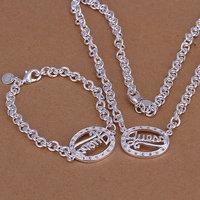 S090 Wholesale, free shipping 925 silver jewelry set, fashion jewelry set Egg-Shaped Two-Piece Jewelry Set