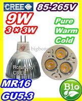 DHL FEDEX free CREE LED 9W 3x3 MR16 GU5.3 High power Spot Light Bulb Spotlight spot lamp 220V
