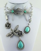 Natural Dragonfly Turquoise Manual tibet silver necklace earrings set