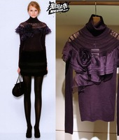 2012 JORYA patchwork ruffle flower cutout slim basic sweater wool sweater