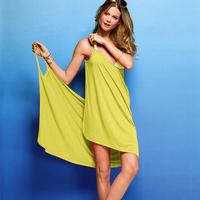 2014 new fashion women's dress Solid color deep V-neck sunscreen sexy multi-purpose beach dress spaghetti strap one-piece dress
