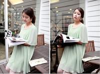 Korea fashion maternity dress chiffon light blue one-piece dress  pregnant clothing LC-024