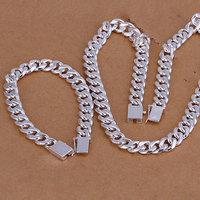 S101 Wholesale, free shipping 925 silver jewelry set, fashion jewelry set 10Mm Flat Square Lock Two-Piece Jewelry Set