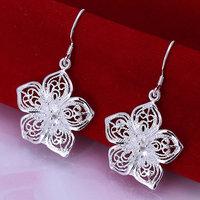 E035 Wholesale 925 silver earrings, 925 silver fashion jewelry, Flower Earrings
