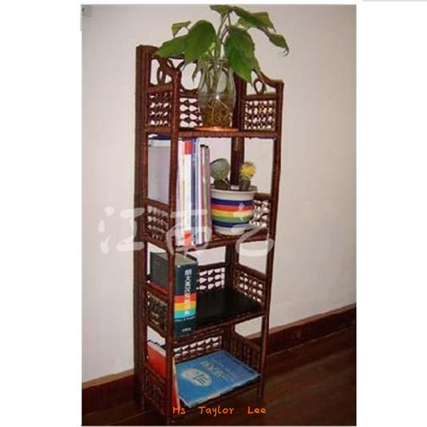 Absolutely excellent!hight quality handmade rattan 4 layers of Bookcases /commodity shelf / Living Room Furniture> Free shipping(China (Mainland))