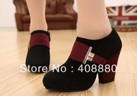 High heels low shoes waterproof color stitching matte leather leather shoes women shoes