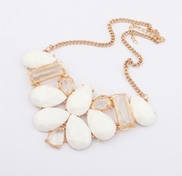 Gift! New Korean Fashion Womens White Geometry Bib Collar Necklace Wholesale Price 95746 Free shipping
