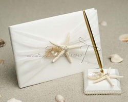 Free Shipping Starfish & Sea Shell Beach Themed Wedding Guest Book and Pen Set(China (Mainland))