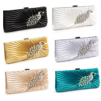 women Satin PEACOCK Evening bags CRYSTAL Clutch Wedding PROM Party Bag hot sale 11ccolors