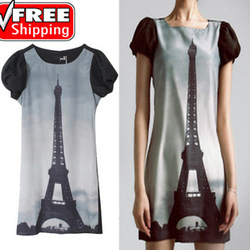 2013 spring new women Eiffel Tower print Puff silk chiffon dress sub New arrival Novelty Dress free shipping ONSALE(China (Mainland))