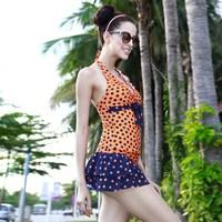 Poem 2013 vega sweet polka dot women's split skirt style swimwear