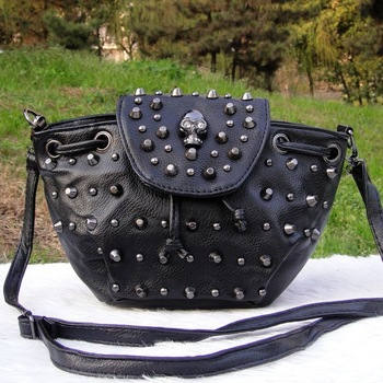 Skull 2013 ghost head bag rivet one shoulder cross-body bag small fashion drawstring women's handbag