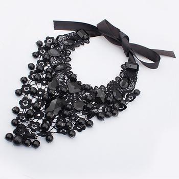 Min.order $10 ( Mix order ) Star accessories women's black necklace fashion elegant lace round ball Women accessories necklace