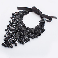 Min.order $10 ( Mix order ) Star accessories women&#39;s black necklace fashion elegant lace round ball Women accessories necklace