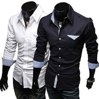 Free Shipping 2013 New Men's Shirts,Men's Dress shirts,Men's Casual shirt,Men's Leisure shirt pocket Color:Navy,White Size:M-XXL