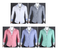 Free Shipping 2013 New Men's Shirts,Men's leisure brighter shirts,Casual Slim Dress Shirts,Men's Clothing 5 Colors Size:M-XXL