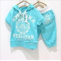 wholesale!2013 Hot Sale Children's sports suit for summer , Colorful children's clothing/ light blue Children's sports suit