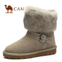 Free shiping Camel boots suede cowhide velvet the winter thermal rabbit fur snow boots new arrival