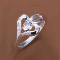 R153 Size 7,8 925 silver ring, 925 silver fashion jewelry, inlaid stone heart ring