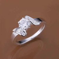 R155 Size 7,8 925 silver ring, 925 silver fashion jewelry, inset stone Ring