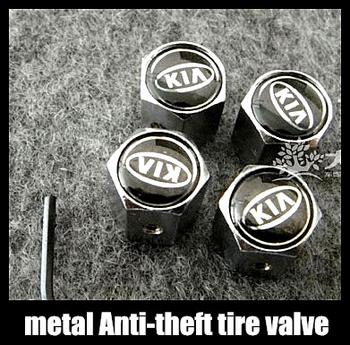 Free shipping  Car Logo emblem Anti-theft Tire Valve Caps for kia k2 k3 k5 rio metal Tire Valve Stem Caps easy DIY decoration