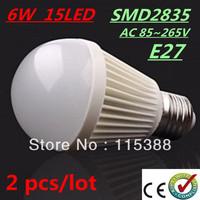 2pcs/lot Bubble Ball Bulb SMD2835 15LED AC85-265V 6W E27 High power Energy Saving Ball steep light LED Light Bulbs Lamp Lighting