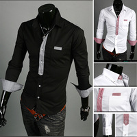 Free Shipping 2013 New Men's Shirts,Leisure Shirts,Plover welt hitting scene decoration leisure shirt (Black,White) Size:M-XXL