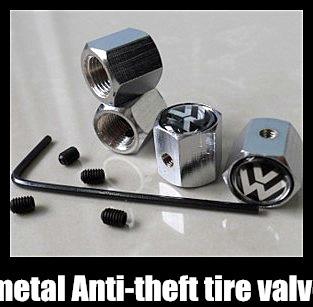 Free shipping 1set Car Logo emblem Anti-theft Tire Valve Caps for VW  metal Tire Valve Stem Caps easy DIY decoration