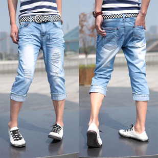 Original design men's clothing 2013 male personality distrressed water wash jeans capris