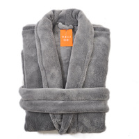 2014 Coral fleece robe spa bathrobe sleepwear lounge autumn and winter grey XL-XXL ,bathrobe male,winter dress,Free shipping