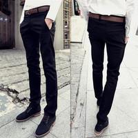 2014 Autumn Casual Pants Men's Clothing Black Slim Men's Harem Pants Male Trousers