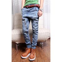 2013 spring irregular decoration primary color harem pants Men skinny denim pants harem pants