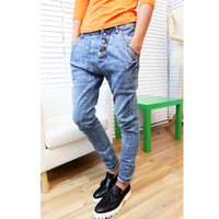 2012 spring buttons front fly all-match harem pants jeans pants male