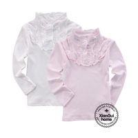 Children's clothing female child spring and autumn h amp . m lace collar 100% cotton long-sleeve T-shirt child baby basic shirt