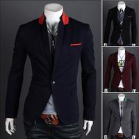 2014 new men blazers casual suit man jacket slim one button suit outerwear ,suits for men