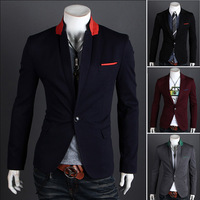Free shipping 2014 new casual suit male slim one button suit outerwear ,suits for men