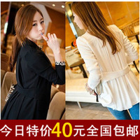 2013 spring and autumn blazer long-sleeve slim medium-long patchwork chiffon shirt female suit outerwear