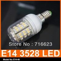 wholesale Brandnew E14 220V Screw Socket 48 LED High Power Energy Saving Light Lamp Warm White cool white Spotlight Light