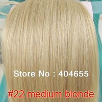 "140g 160g #22 medium blonde 10p 16"" 20"" 24"" 28"" clips extensions Clip-in 100% human hair free shipping"