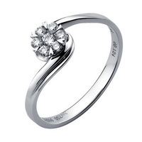 100% Natural !! 100% Real 18K white Gold 0.17 CT Wedding ring for women Certificated  Free Shipping