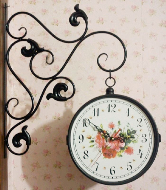 Fashion rose rustic wrought iron double faced clock wall clock quieten metal pocket watch clock(China (Mainland))
