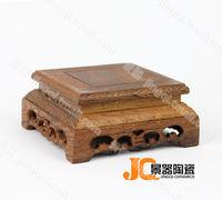 Wenge mahogany base stone jade buddha antique vase beightening scupseat square