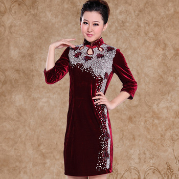HOT Retro cheongsam Oriental cheongsam nobility fashion winter vintage flower velvet long-sleeve cheongsam winter