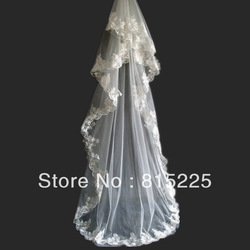 2013Elegant Vintage Classy Wedding Accessories Veils Bridal Veil Decoration Floor Length Lace Edge Two Layer Ivory Applique(China (Mainland))