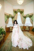 NEW ARRIVAL Free Shipping spagheti strap pure hand-made workmanship flowers chapel train Bridal Wedding Dresses-Intimate Lover