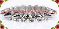 10PCS/LOT 1 row silver color Punk Style Spike Hedgehog Rivet Bracelet, Fashion Stretch Adjustable Rivet Spike Bracelet